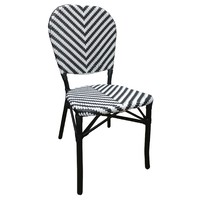 Outdoor Cafe Chair French Parisian Bistro Seating Austin Aluminium Rattan Wicker Black White