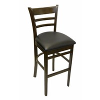 Timber Bar Kitchen Stool Black PU Vinyl Seat Chocolate Frame Brumby