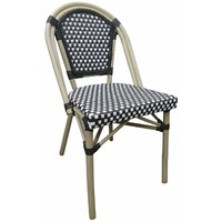Paris Aluminium Rattan Outdoor Wicker Parisian Cafe Chair - Black and White