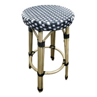 Outdoor Cafe Stool French Parisian Bistro Seating Paris Aluminium Ratten Black and White