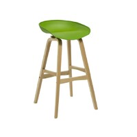 Virgo Kitchen Bar Stool Timber Frame Green Polypropylene Seat