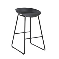 Aries Kitchen Cafe Bar Stool Black Powdercoated Frame Black Polypropylene Seat
