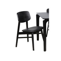 Zurich Timber Dining Chair Black Frame and Black PU Padded Seat