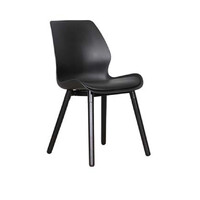 Europa Dining Chair White Metal Base PP Bucket and PU Padded Seat Black