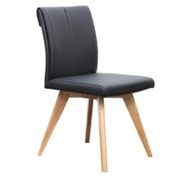 Hendriks Dining Chair Commercial Black Leather Padded Seat Natural Timber Legs