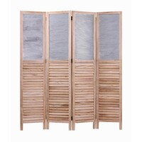 Farmhouse Tea Tree Privacy Screen 1600mm Divider Corrugated Metal Top Timber Natural