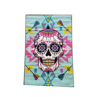 Children's Rug Sugar Skull Hot Pink Turquoise 100cm x 150cm
