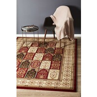 Traditional Panel Pattern Rug Burgundy 330X240cm