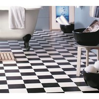 Black & White Regal Checked Vinyl 4m Wide Sheet Flooring 25cm x 25cm Squares