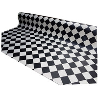 Black & White Sheet Flooring Checked Vinyl 4m Wide York Diamond Design