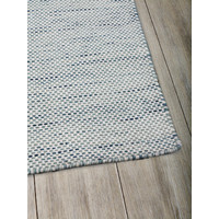 The RUG Collection Subi 100% Pure Wool Flatweave Rug 160cm x 230cm Ivory/Blue