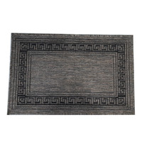 Seaspray Mat 57cmx90cm Rubber Back Kitchen Rug Greek Key Camel Grey