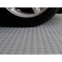 Checker Plate Garage Vinyl Sheet Flooring 2m Wide Grey