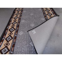Zap Hallway Runner Hall Rubber Back 67cm wide GREY