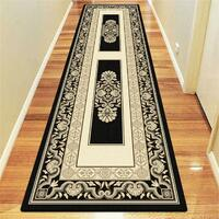 Saray Rugs Traditional Floor Hall Runner 80cm x 300cm Area Carpet Palace 7652 BLACK