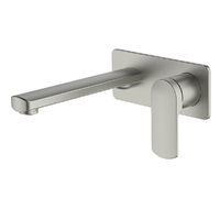 Greens Tapware Wall Basin Mixer With Plate Bathroom Tap Spout Brushed Nickel Corban 193003521