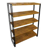 Ironstone 5 Tier Bookcase Shelf Storage Bookshelf 1.55m High
