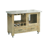 Corbel Timber Butchers Block Stainless Steel Top Mobile Kitchen Chopping Board Work Bench Island Trolley