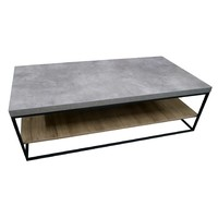 Coffee Table Concrete Look Oak 2 Tier Industrial Metal Simon