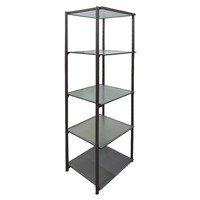 5 Tier Cube Glass Storage Shelf Bookcase Shelves Storage Display Stand