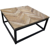 Coffee Table Rustic Industrial Timber Herringbone Top Square 800mm Wide