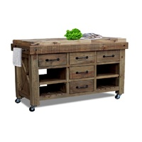 Ashfort Timber Butchers Block Hardwood Top Mobile Kitchen Chopping Board Work Bench Island Trolley