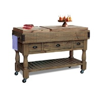 Beaufort Timber Butchers Block Hardwood Top Mobile Kitchen Chopping Board Work Bench Island Trolley