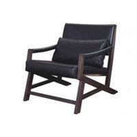 Simon Arm Chair Black PU Seat Timber Frame Armchair