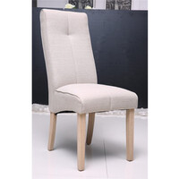 Tony Dining Chair Cream Linen Fabric Timber Legs