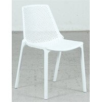 Outdoor Stackable Chair Dining Furniture Seating Plastic White