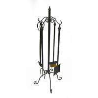 5 Piece Fireplace Tool Set Black