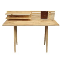 Scandi Desk Natural Hardwood Timber Frame and Top 2 x Shelves & Pencil Caddy
