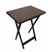 Dark Walnut TV Dinner Folding Timber Snack Table Unit