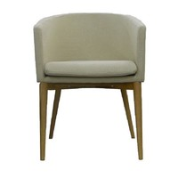 Kendall Armchair Timber Arm Chair Tub Beige Fabric