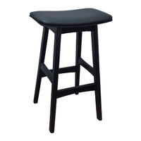 Gangnam Kitchen Bar Stool Timber Black Frame Vinyl Black Padded Seat