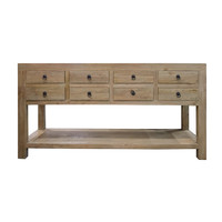 Recycled Elm Timber Rustic 8 Drawer Buffet Hall Table