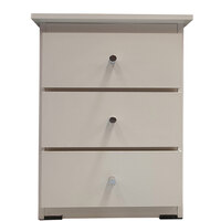 3 Drawer Bedside Chest of Drawers 420mm Wide Bedroom Clothes Storage Unit  Budget Melamine White