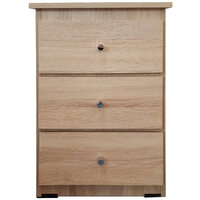 3 Drawer Chest of Drawers 420mm Wide Bedroom Clothes Storage Unit  Budget Melamine Natural Oak