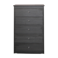 5 Drawer Chest of Drawers 740mm Wide Bedroom Clothes Storage Cabinet  Budget Melamine Charcoal