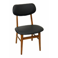 Gangnam Retro Timber Dining Chair Antique Maple w Black Vinyl Seat
