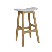Gangnam Kitchen Bar Stool Timber Natural Frame White Padded Seat