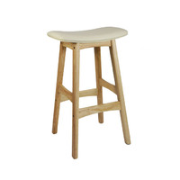Gangnam Kitchen Bar Stool Timber Natural Frame Cream Padded Seat
