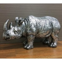 """Rodney"" The Rhino Silver Resin 60cm x 90cm"