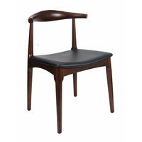 Elbow Chair Replica Hans Wager Timber Walnut Stain Black PU Seat