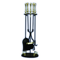 Melton Craft JC 20BK 5 Piece Fireplace Tool Fire Set Heavy Duty Black