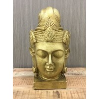 Antique Gold Buddha Bust Poly Resin Statue E147160 Flower World