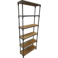 Rustic 6 TIER Storage Display Bookcase Brown Timber / Metal