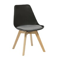 Virgo Dining Chair Timber Frame Black Shell Grey Upholstered Seat