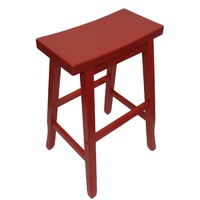 Pagoda Timber Bar Stool 680mm Kitchen Height Red