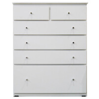 Budget Tallboy 6 Drawer Chest of Drawers Clothes Storage Unit Riteway White 920 x 400 x 1150mm High